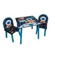 ESPACE Table et 2 chaises en bois pour enfant MDF