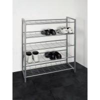 Étagere a chaussures en tube d'acier gris - 12 paires - 80 x 30 x 106 cm