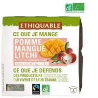 ETHIQUABLE Compote Pomme Mangue Litchi Bio - 4 x 100g