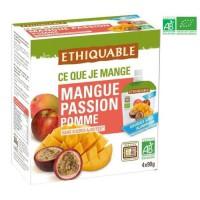 ETHIQUABLE Gourde Mangue Passion Pomme Bio - 4 x 90g