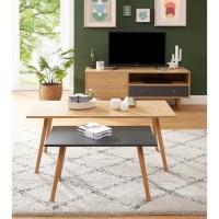 ETNIK Lot de 2 tables basses gigogne pied en bois massif - Imprimé ethnique - L 130 x P 45 x H 50 cm