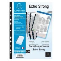 EXACOMPTA - 20 Pochettes perforées - Bande de renfort - 21 x 29,7 - Polypropylene lisse incolore 85µ - 11 trous - Sous film