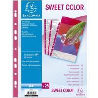 EXACOMPTA - 25 Pochettes perforées - Bande de renfort Fushia - 21 x 29, - Polypropylene lisse incolore 55µ - 11 trous - Sous fil