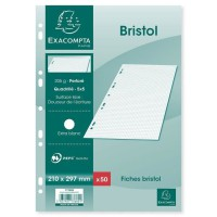 EXACOMPTA - 50 Fiches Bristol blanches - 21 x 29,7 - Non perforées - 5 x 5