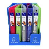 EXACOMPTA - Classeur Extra Large - 24,2 x 29,7 - 4 anneaux - Polypropylene translucide 7/10eme - 5 couleurs aléatoires