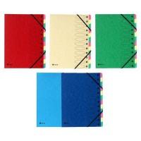 EXACOMPTA - Trieur a soufflet elastique - 12 positions - 24,5 x 31,5 - Carte lustrée vernie F.S.C 5/10eme - 4 couleurs aléatoire