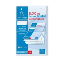 EXACOMPTA Bloc 40 fiches Bristol blanches perforées - 125 x 200 mm - 5 x 5 PEFC 205 g - Couverture enveloppée Carte 240 g