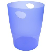 EXACOMPTA Poubelle - 26 x 26 x 33,5 mm - Polypropylene translucide Bleu Glace Punchy