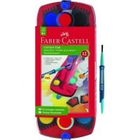 FABER-CASTELL Palette Connector de 12 couleurs + Pinceau - Coloris assortis