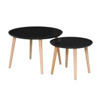 FINLANDEK 2 tables basses gigognes rondes INKERI scandinave - Noir mat - Ø60 cm et Ø40 cm
