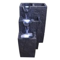 Fontaine lumineuse 3 vasques - 12 LED - 35 x 45 x H60 cm - Noir
