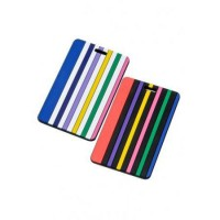 FRANCE BAG Lot de 2 Portes Etiquettes de Bagage Rayures Multicolore