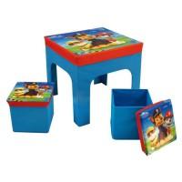 Fun House Pat Patrouille ensemble table+2 tabourets de rangement pliables pour enfant
