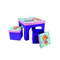 Fun House Pat Patrouille fille ensemble table avec 2 tabourets de rangement pliables pour enfant