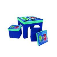 Fun House Pyjamasques ensemble table + 2 tabourets de rangements pliables pour enfant