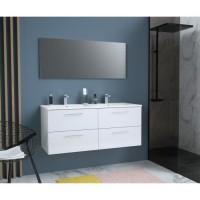 GLOSSY Meuble de Salle de bain double vasque L 120cm - Blanc laqué brillant
