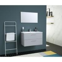 GLOSSY Meuble DE Salle de bain simple vasque L 80cm - Gris clair laqué brillant