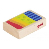 GOKI Shaker box Arlequin -7x5x2cm - Bois naturel - Motif coloré