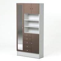 GALET Armoire de salle de bain L 90 cm - Blanc et taupe mat