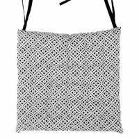 Galette de chaise 100% coton 25 points CLOVER 40x40x4 cm noir et blanc