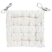 Galette de chaise capitonnée Luxury - 100% Coton - 40 x 40 cm - Blanc