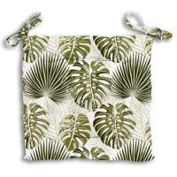 Galette de chaise capitonnée Nouméa - 100% Coton - 40 x 40 cm - Vert et blanc