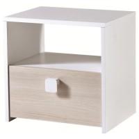 GAME Chevet contemporain décor acacia et blanc perle - L 33 cm