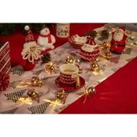 Guirlande de Noël 10 LED en métal avec grelots blanc chaud - L 40 cm - Argent ou or
