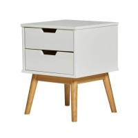 HAVANA Chevet 2 tiroirs - Décor chene et Blanc - L 40 x P 40 x H 52 cm