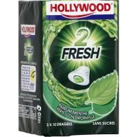 Hollywood 2Fresh chewing-gum menthe verte sans sucres 30 dragées
