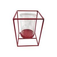 HOMEA Photophore en métal et verre 14x14xH19 cm rouge