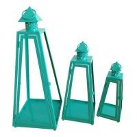 HOMEA Set de 3 lanternes pyramide en métal H30-40-55cm turquoise