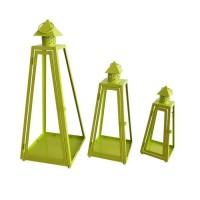 HOMEA Set de 3 lanternes pyramide en métal H30-40-55cm vert anis
