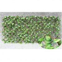 IDEAL GARDEN Treillis extensible Osier - Avec feuilles artificielles classiques - 1 x 2 m