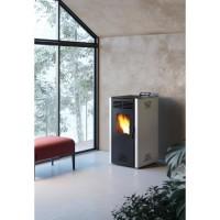 INVICTA Adrano Poele a granulés modulable de 3,1 a 7,3 kW - Acier - Rendement : 90 % - Autonomie : 21 h - Flamme verte 7* - Gris