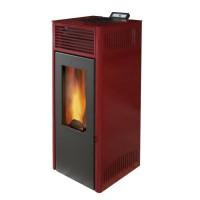 INVICTA Nola 7 - Poele a granulés modulable de 2,5 a 7 kW - Acier - Rendement : 86 % - Autonomie : 27 h - Flamme verte 6* - Roug