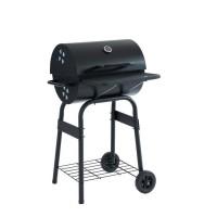 JAMES Barbecue a charbon avec couvercle type fumoir - 2 roues et tablettes - 44 x 37 cm - Noir