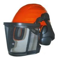 JARDIN PRATIQUE Casque de protection forestier avec grille métallique + Proteges oreilles
