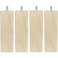 Jeu de pieds carrés en bois - L 6 x l 6 x H 17 cm - Lot de 4