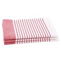 JULES CLARYSSE Lot de 3 torchons Timeless - 100% coton - 50x70 cm - Rouge