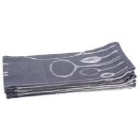 JULES CLARYSSE Lot de 6 torchons Table Time - 100% coton - 50x70 cm - Bleu