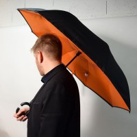KINSTON Parapluie inversé Noir/Orange