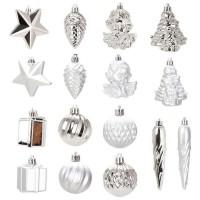 Kit de 16 décorations de Noël PVC - Ø 5 8 cm - Argent