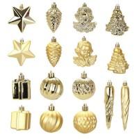 Kit de 16 décorations de Noël PVC - Ø 5 8 cm - Or