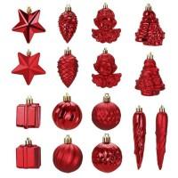 Kit de 16 décorations de Noël PVC - Ø 5 8 cm - Rouge