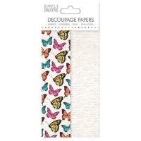 LA FOURMI Papier Découpage - Papillons Vibrants - 18,8x35cm x 4fl. (2x2 modeles)