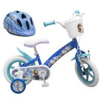 """LA REINE DES NEIGES Vélo 12"""" + Casque - Enfant fille - Bleu et blanc"""