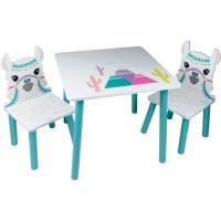LAMA Table et 2 chaises pour enfant - En bois MDF