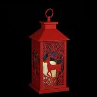 Lanterne de Noël a piles en plastique - 15 x 15 x 35 cm - Rouge - 3 piles AAA non incluses