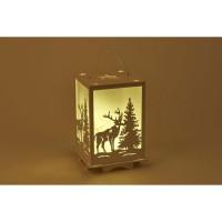 Lanterne lumineuse 12 LED en bois blanc - H 16 x L 10,8 cm